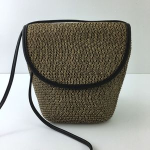 Talbots Woven Crossbody Purse Leather Trim